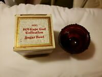 "Vintage Avon 1876 Cape Cod Ruby Red Sugar Bowl 3.5"" + box / sachet - 1981"