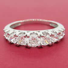 Real 9ct Solid White Gold Engagement Wedding Anniversary Ring Simulated Diamonds
