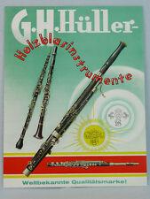 originales altes Werbeschild, Plakat, G.H. Hüller, Melodia, Holzblasinstrumente