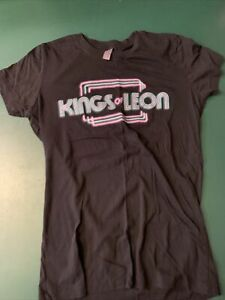KINGS OF LEON   BLACK T-SHIRT  NEON LETTERING PRE-OWNED    NICE !!!!    LARGE