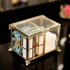 Clear Glass Cosmetic Storage Box with Lid Dustfree Antique DecorativeCompartment