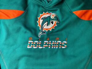 Vtg Reebok NFL Miami Dolphins 2XL  Hoodie Logo Sweater Sweatshirt Embroidery (z)