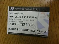 15/02/2014 Ticket: Ayr United v Rangers  . Thanks for viewing this item, we try