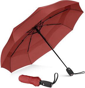 Repel Umbrella Windproof Travel Umbrella Compact, Light, Automatic, Strong, Red