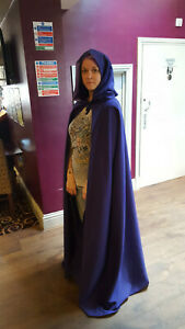 pointy hooded cloak purple more colours available (c39) witch wizard fantasy
