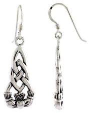 Irish Celtic Knot Claddagh Charm Dangle Earrings .925 Sterling Silver