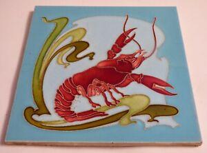 Rare 1900 Awesome RED LOBSTER Art Nouveau Tile Jugendstil Fliese Carreau french
