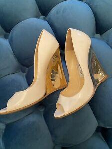 JIMMY CHOO Size 38 White Patent Leather Gold Wedge Baxen Peep Toe Heels W/ Box