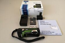 Waterproof Camera Olympus Stylus TG-870 Black and Green *Bundle* Great Condition