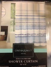"""Cynthia Rowley Home Fabric Shower Curtain White Blue Striped Ombre  72"""" X 72"""""""