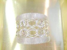 Trendy Chain Link Motif Silver-Tone Silver Mesh Cuff Bracelet For Women