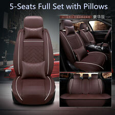 Deluxe Car SUV Seat Cover Cushion 5-Seats Front+Rear PU Leather w/Pillows Size M