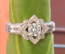 Fashion Lady 14K White Gold Over Lotus Flower White Diamond Ring Wedding Jewelry
