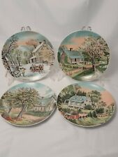 """Set of 4 Vintage Currier & Ives Four Season Plates Collection 6.5"""" Japan"""