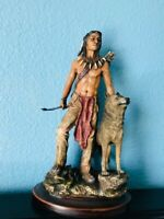 """Native American Indian Warrior with Wolf Statue Sculpture Figurine Gift 13"""" Tall"""