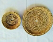 2Vintage Retro Round Wicker Rattan Basket Woven Natural PlateTray Display Decor