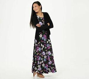 Womens Attitudes by Renee Maxi Dress with Cardigan A306555 M Black Floral