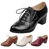 womens Oxford Shoes Office High Heels Wedding Ladies brogues Kids plus size 0-15