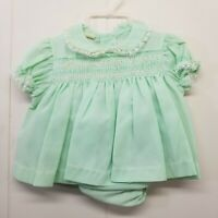 Vintage Size 1 Green Dress Baby Girl Bloomers Lace Frills Smocked Pageant