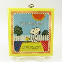 Hallmark Peanuts Snoopy & Woodstock Keep Smiling Plaque Vintage Wall Yellow