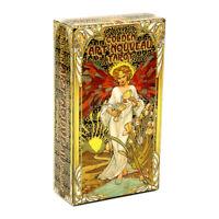 Golden Art Nouveau Tarot Cards Rider Waite Divination Board Party Game Gift 78