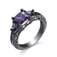 8*8mm Purple Amethyst Band Women's 10KT Black Gold Filled Wedding Ring Size 6-10