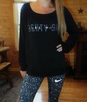 Victoria's Secret PInk sweater small soft black eighty-six love