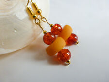 Pretty Faux Butterscotch Amber & Glass Orange Drop Pierced Earrings Polymer Clay