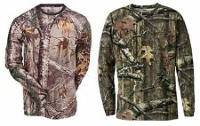 STEALTH Mens Camouflage Camo Real Tree Jungle Forest Print LONG Sleeved T Shirt