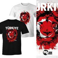 Herren T-Shirt Fanshirt Türkei Türkiye Turkey Fußball EM WM Löwe MoonWorks®