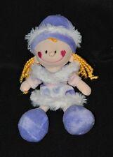 Peluche doudou poupée Rodaline RODA mauve violet blanc rose 22 cm TTBE