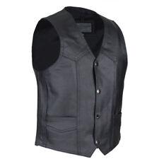 Boys Black Leather Motorcycle Vest - 6-7 - Biker Kids - Childs - S/M