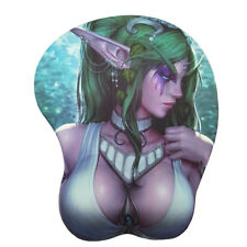 WOW Tyrande Anime Gaming 3D Mouse Pads Mat with Wrist Rest Lycra Skin