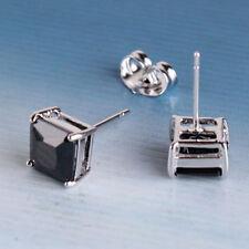 Square Cz Neutral Stud Earrings, F3873 Cool Men's 9K White Gold Filled Black
