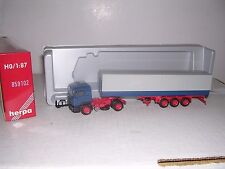 """Herpa #859102 Man Cab w/Tri Axle Covered Trailor """"Blue & Gray"""" H.O.Gauge"""