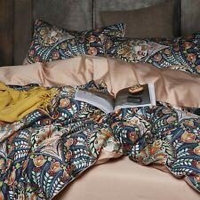 Vintage Bohemian Flower Duvet Cover Set Queen Egyptian Cotton