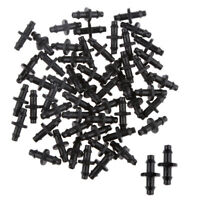 50Pcs Plastic Garden Watering Double Barbed Connector Fitting for 4/7mm Tubing