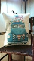 FOLK ART VINTAGE VICTORIAN PRIMITIVE ANTIQUE AMERICANA STYLE TRUCK FLAG  PILLOW