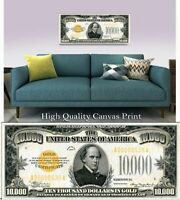 """Large Poster $10,000 Chase Gold Certificate Note 16""""x40"""" Printed on Canvas"""