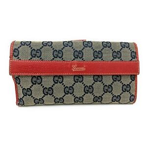 Gucci Vintage Navy GG Canvas Red Leather Trim Long Wallet