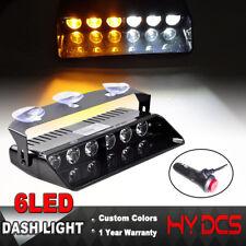6 LED Car Dash Emergency Warning Traffic Strobe Flash Light Lamp Amber White 12V