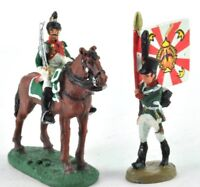 lead figure Soldier Napoleonic War Austerlitz Infantry Flag carrier+cavalry. D43