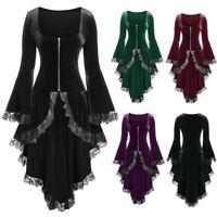 Fashion Women Plus Size Lace High Low Bell Sleeve Velvet Zipper Asym Dress Coat