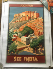Jodhpur See India Art Deco Poster Canvas Effect 24x18 Inches