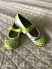 girls Umi flats, silver with neon yellow accents, size 31/US 13