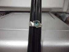 LNC* Sz 6.5 BLUE TOPAZ TRILLION/ 6 ROUND CUT DIAMONDS; 925 (STAMPED) SILVER RING