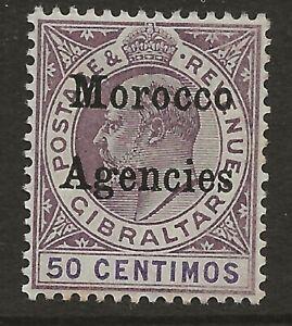 MOROCCO AGENCIES  SG 21  1905 WATERMARK CROWN CA 50c - KEY STAMP OF SET  MINT