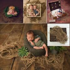 1 PC Newborn Jute Backdrop Blanket Baby Photography Prop Chunky Burlap Layer Net