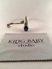 King Baby Studio Mens Carved Jet skull w/ silver crown pendant  K10-5451