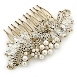 Oversized Bridal/ Wedding/ Prom/ Party Antique Gold Crystal, Pearl Floral Hair